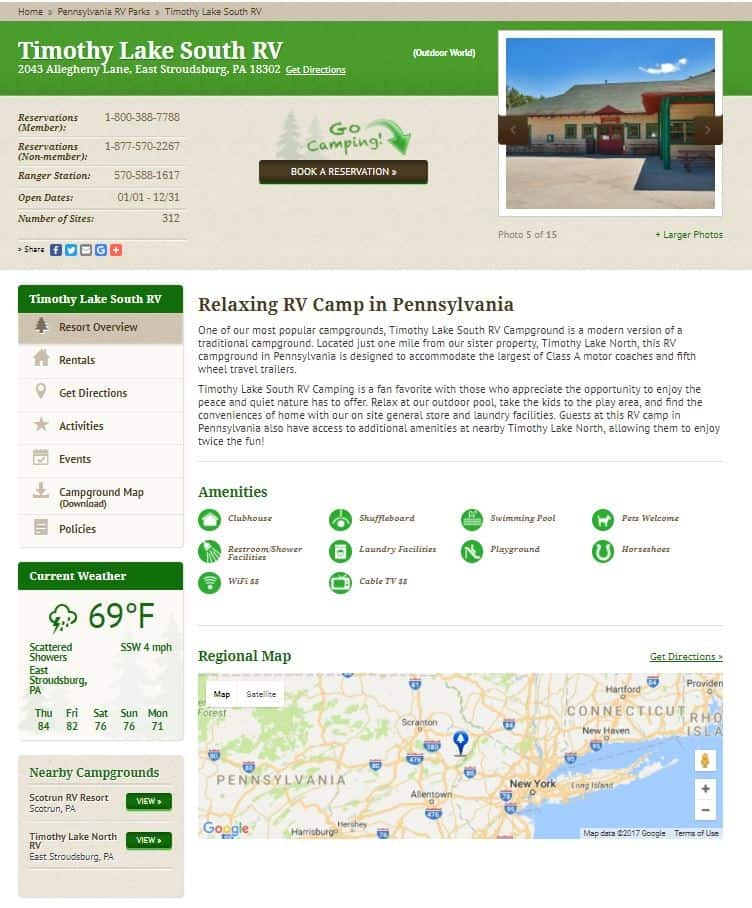 thousand trails campground info page