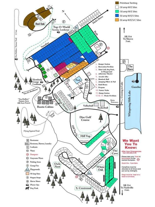 whispering hills jellystone site map