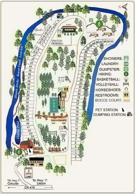Lock 30 Woodlands Campground Map